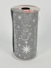 DUE ESSE komplet 4 okrasnih sivih trakov 11,3 × 270 cm, srebrni dekor