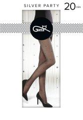 Gatta Vzorované dámské punčochové kalhoty s lurexem SILVER PARTY černá/stříbrná 2-S