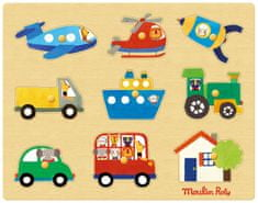 Moulin Roty Vkládací puzzle Dopravní prostředky