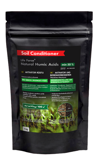 Life Force Natural Humic Acids pro obnovu úrodnosti půdy, aktivátor půdy, 1 kg.
