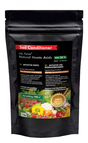 Life Force Natural Humic Acids pro organické zemědělství, organické hnojivo a aktivátor půdy , zvláště vhodné i pro pokojové rostliny, 1 kg