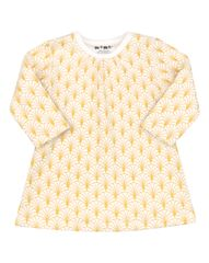 Nini dekliška obleka iz organskega bombaža, 74, rumena/bela