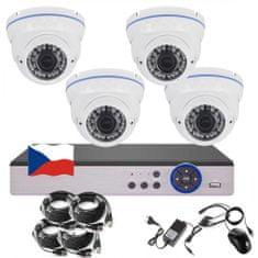 Eonboom 4CH 5MPx STARVIS AHD kamerový set CCTV VR4DW - DVR s LAN a 4x venkovní vari dome bílá kamera