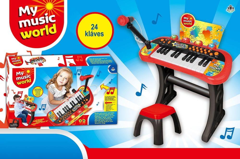 MaDe Elektrické Pianko s mikrofonem a židličkou