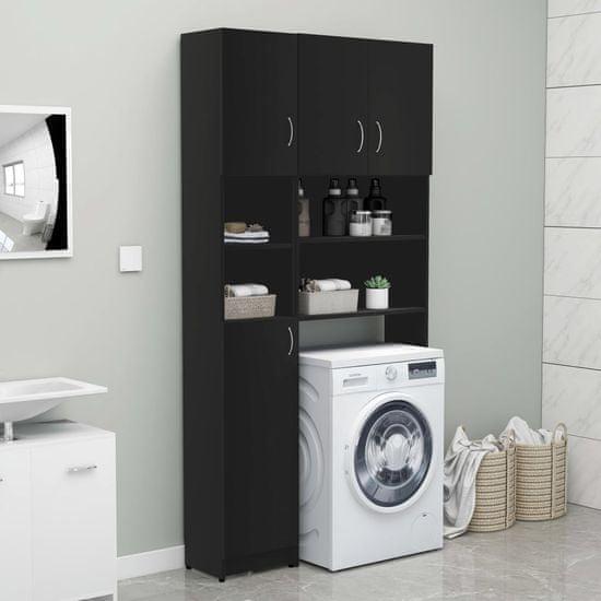 shumee fekete forgácslap fürdőszobaszekrény 32 x 25,5 x 190 cm
