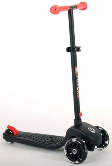 Qplay - Kolobežka Future čierno-červená s LED svetlom