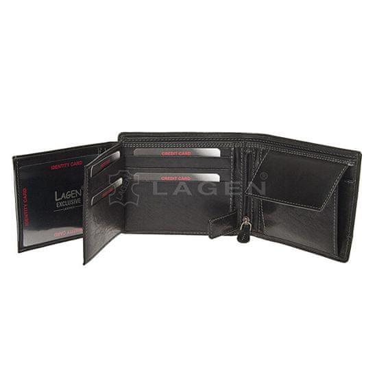 Lagen Moška černá usnjena denarnica Black V-76 / T