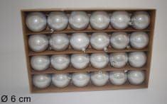 DUE ESSE Set 24 božičnih kroglic, srebrna sedef, Ø 6 cm - Odprta embalaža