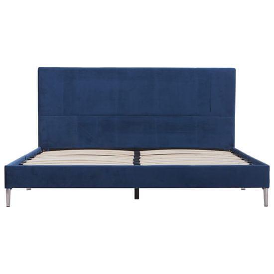 slomart Posteljni okvir modro blago 160x200 cm