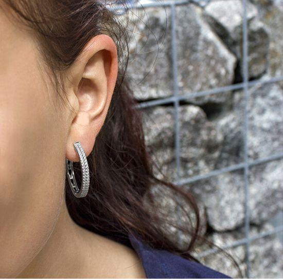 Beneto Ezüst karika fülbevaló kristályokkal AGU1155