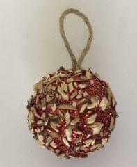 DUE ESSE Set 8 rdečih božičnih kroglic s koščki lesa, Ø 6 cm