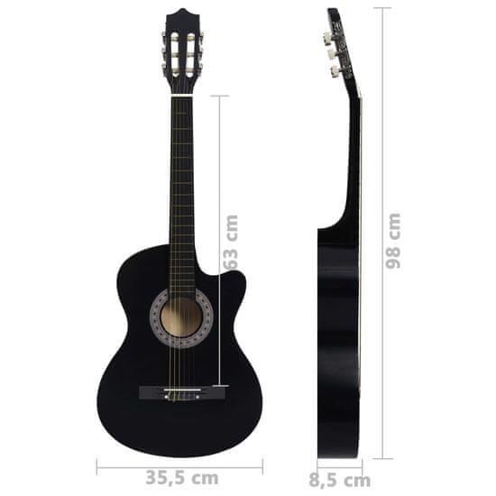 """shumee Folková akustická gitara Cutaway so 6 strunami čierna 38"""" lipové drevo"""