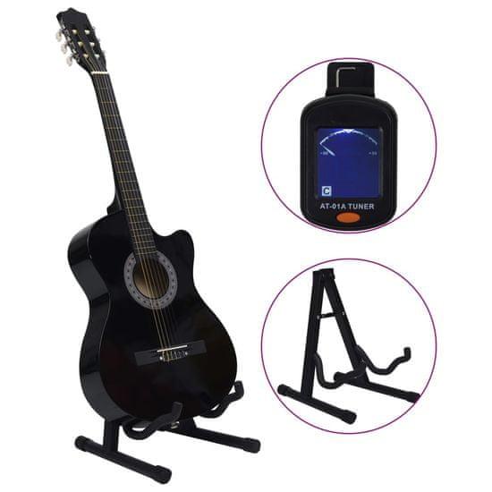 """shumee 12-dielna folková akustická gitara so 6 strunami čierna 38"""""""