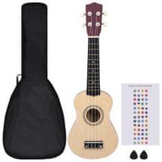 """Greatstore Set soprano ukulele s obalem pro děti světlé dřevo 21"""""""