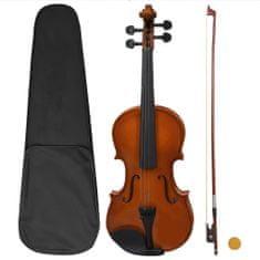 Greatstore Violina komplet z lokom in naslonom za brado temni les 4/4