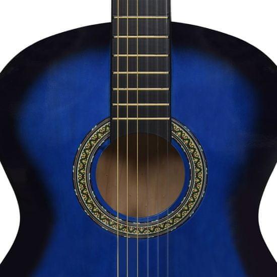 """shumee Klasična kitara za začetnike modra 4/4 39"""" lipov les"""