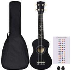 """shumee Sopránové ukulele s taškou pre deti čierne 21"""""""