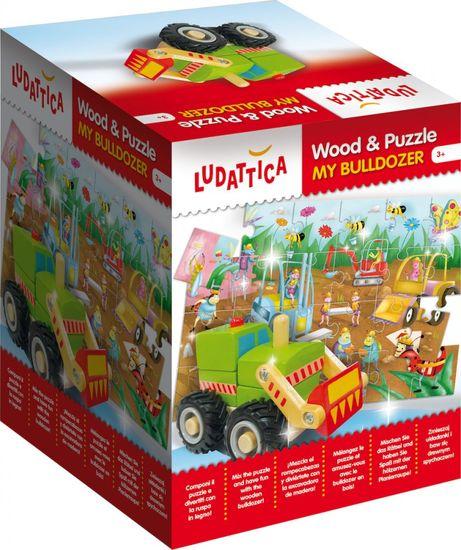 Ludattica Motorická hračka a oboustranné puzzle - Buldozer