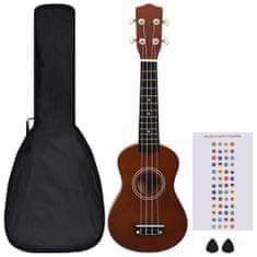 """shumee Sopránové ukulele s taškou pre deti tmavé drevo 21"""""""