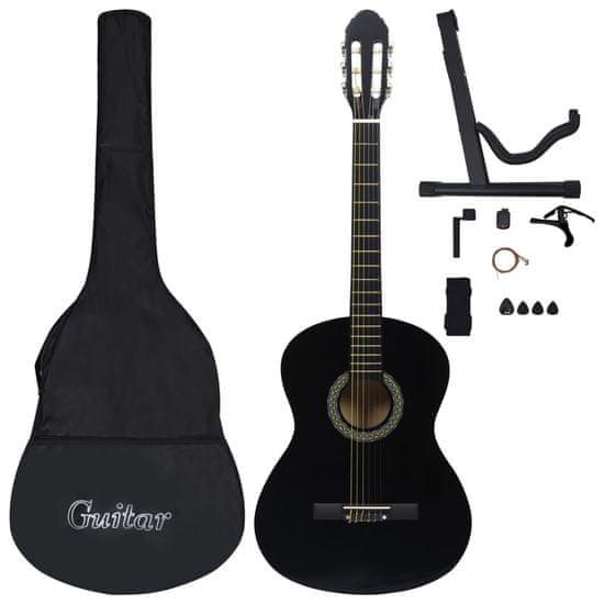 Greatstore 12dílný set klasická kytara pro začátečníky černá 4/4 39''