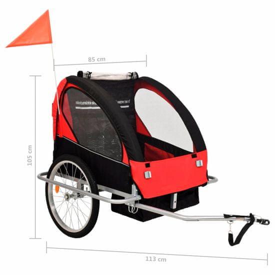 shumee Dětský vozík za kolo a kočárek pro běžce 2v1, červeno-černý