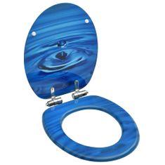 shumee Deska za WC školjko počasno zapiranje MDF modra dizajn kapljice