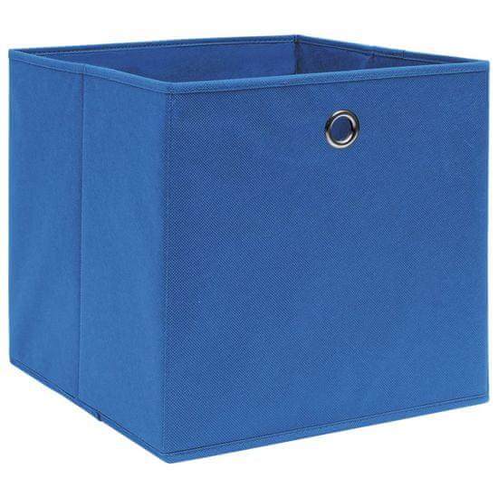 shumee Škatle 10 kosov netkano blago 28x28x28 cm modre