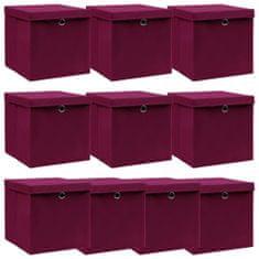 shumee 10 pudełek z pokrywami, ciemnoczerwone, 32x32x32 cm, tkanina