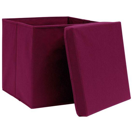 shumee Škatle s pokrovi 10 kosov 28x28x28 cm temno rdeče