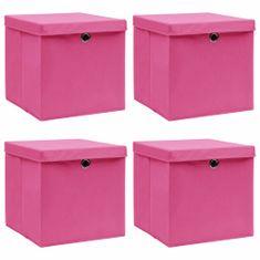 shumee Pudełka z pokrywami, 4 szt., różowe, 32x32x32 cm, tkanina