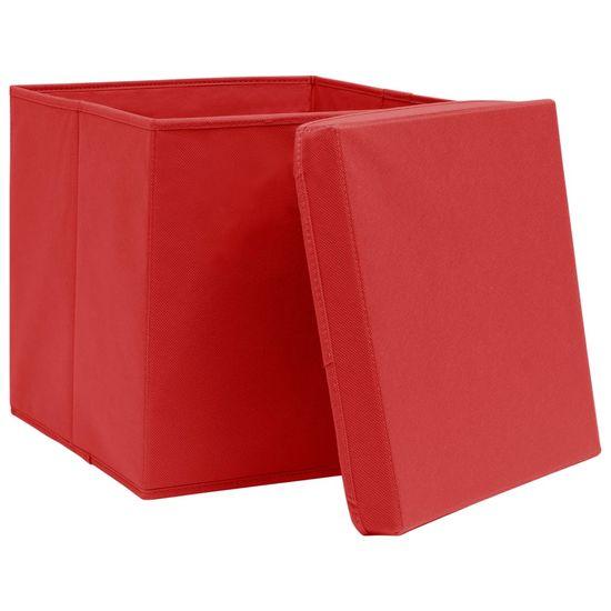 shumee Škatle s pokrovi 10 kosov 28x28x28 cm Rdeča