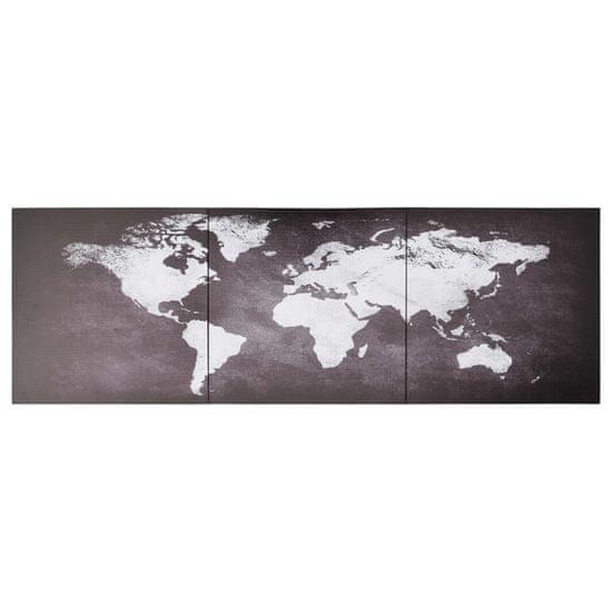 shumee Slika na platnu zemljevid sveta siv 120x40 cm