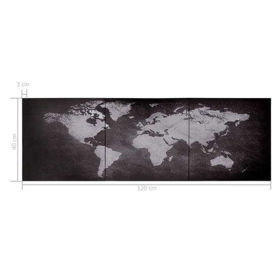 shumee Slika na platnu zemljevid sveta črn 120x40 cm