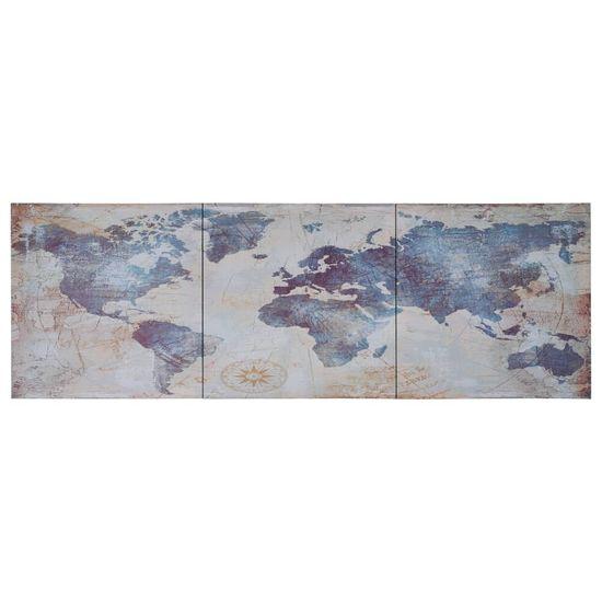 shumee Slika na platnu zemljevid sveta moder 120x40 cm
