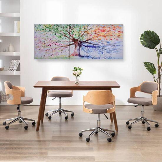 shumee Slika na platnu drevo v dežju večbarvno 200x80 cm
