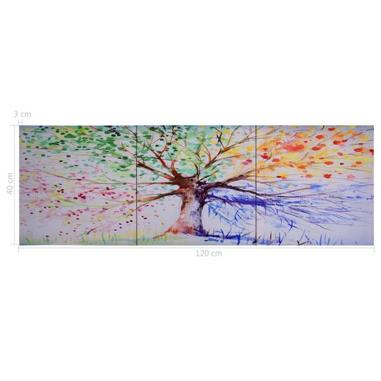 shumee többszínű nyomtatott fa vászon falikép szett 120 x 40 cm