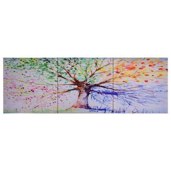 shumee Slika na platnu drevo v dežju večbarvno 120x40 cm