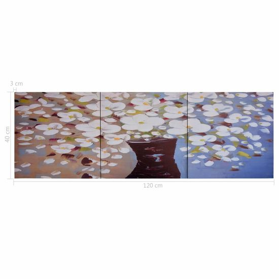 shumee Slika na platnu rože v vazi večbarvna 120x40 cm
