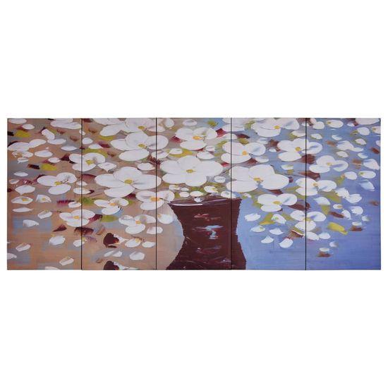 shumee Slika na platnu rože v vazi večbarvna 150x60 cm