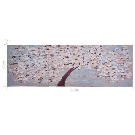 shumee Slika na platnu cvetoče drevo večbarvna 120x40 cm