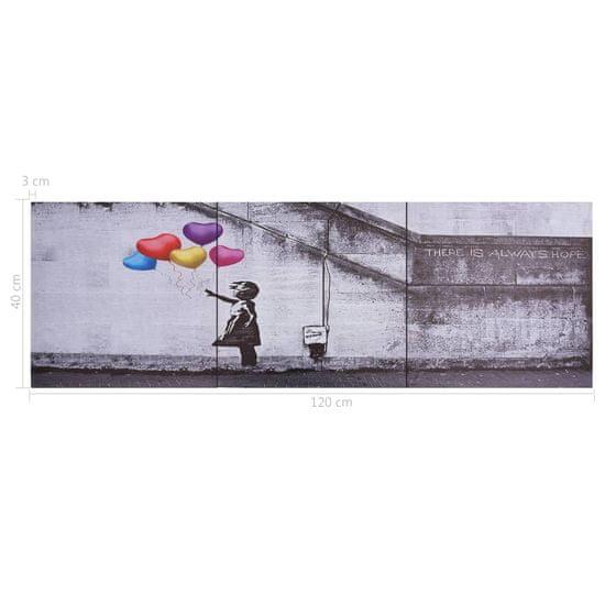 shumee Slika na platnu baloni in otrok večbarvna 120x40 cm