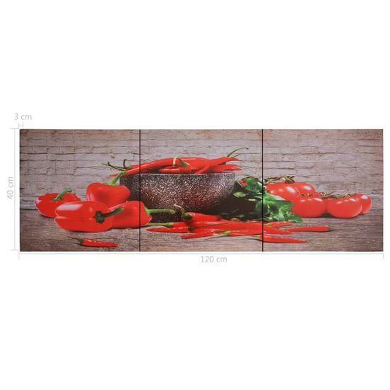 shumee Slika na platnu paprika večbarvna 120x40 cm