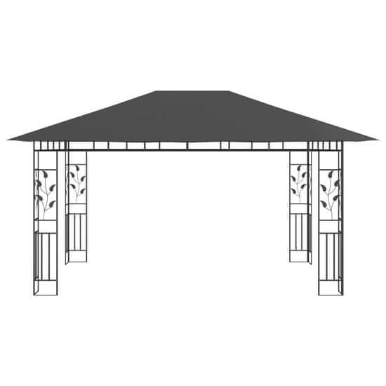 shumee Paviljon z mrežo proti komarjem 4x3x2,73 m antraciten 180 g/m²