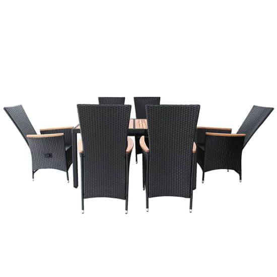 Greatstore Zunanja jedilna garnitura 7-delna poli ratan in akacija črna