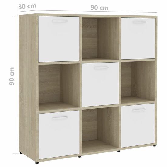 Greatstore Knjižna omara bela in sonoma hrast 90x30x90 cm iverna plošča