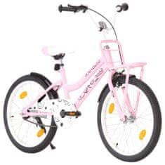 """shumee Otroško kolo s prednjim prtljažnikom 20"""" roza in črno"""