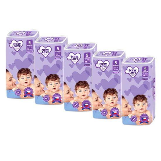 New Love MEGAPACK Dětské jednorázové pleny New Love Premium comfort 5 JUNIOR 11-25 kg 5x38 ks