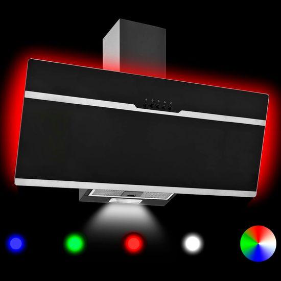 shumee RGB kuhinjska napa LED 90 cm nerjaveče jeklo in kaljeno steklo