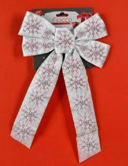 DUE ESSE božična bela pentlja s srebrnim vzorcem 2, 36 cm