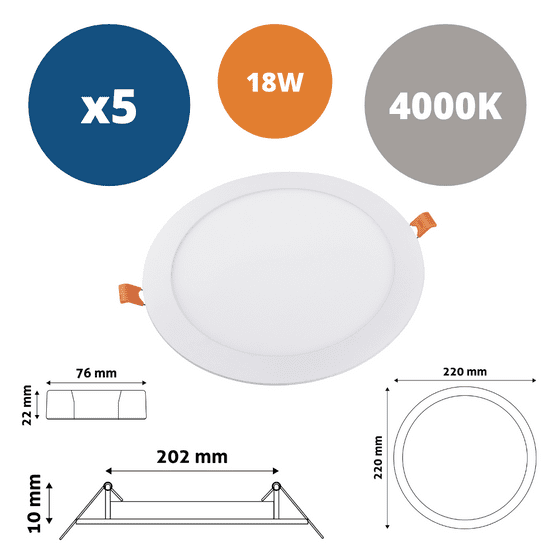 Avide 5x ALU LED vgradni panel okrogli 18W nevtralno beli 4000K